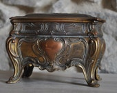 Antique French Footed Casket for Jewelry or Pins - Art Nouveau