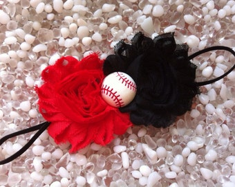 Cincinnati Reds Shabby Chic Black & Red Double Flower Baseball Baby Headband -  Newborn - Infant - Toddler Girl Adult - Photo Prop