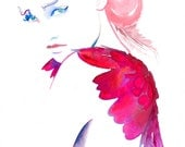 Archival Prints of Watercolour Painting, Fashion Illustration Pink Wings, Titled: Petit Diable