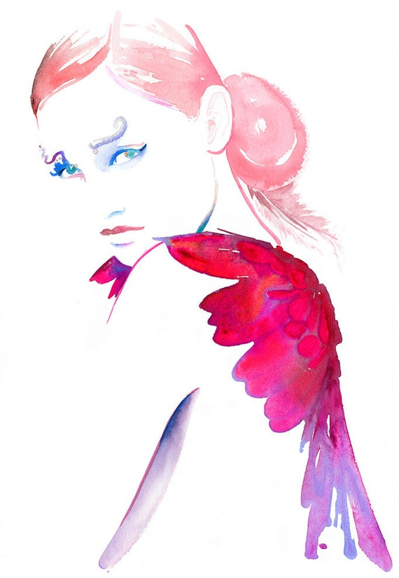 Watercolor Angel, Fashion Illustration, Fashion Watercolor, Fashion Print, Fashion Poster,  Pink Wings, Cate Parr, Fashion Gift, Angel