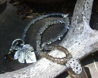 Smoky Quartz necklace - OOAK smoky quartz with silver leaves and glass necklace