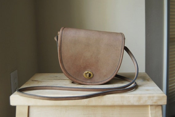 RESERVED - Authentic Vintage Coach Putty Mini Bag - Made in New York City - Taupe Tan Brown Leather Small Crossbody Bag