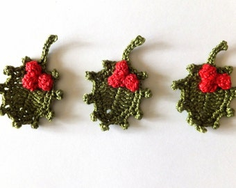 Christmas holly applique - crochet holly leaves - green leaves applique - winter wedding decorations - crochet holiday ornaments - set of 3
