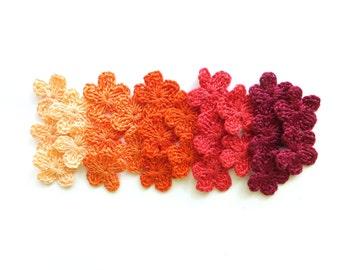 Small flower appliques - autumn flower embellishment - crochet flowers applique - orange flowers - red flowers - cotton - set of 25  ~1 inch
