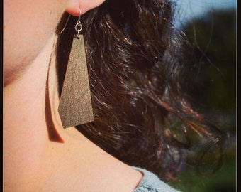Polygon Wood Earring : Silver, Bronze or Gold | Modern Geometric Jewelry 5yr Anniversary
