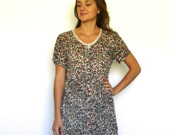 90s Semi Sheer Ditsy Floral Grunge Button Front Babydoll Dress xs s