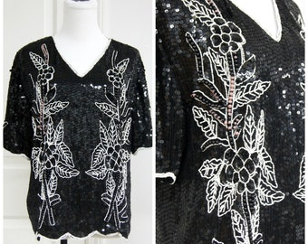 70s 80s Black Sequin Shirt Blouse Small Medium Oversize Floral White Flapper Disco