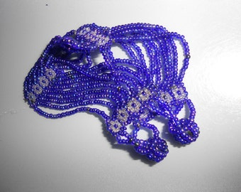 Purple Cuff Tribal Glass Bead Bracelet Seed Beads With Great Gem Tones & Period Design
