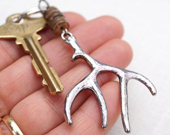 Elk Antler Keychain Deer Keychain Woodland Accessory Husband Gift for men Hunt Christmas Gift for him Personalized Womens Gift Coconut Wood