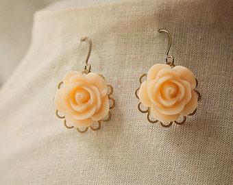 Handmade Resin Rose Earrings Pale Peach Rose Dangle Earrings Bridesmaid Earrings Peach Flower Earrings Peach Rose Earrings
