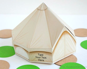 Luxury Tent Favor Box : DIY Printable Camping Tent Gift Box | Glamping | Camp | Camper | Campout - Instant Download