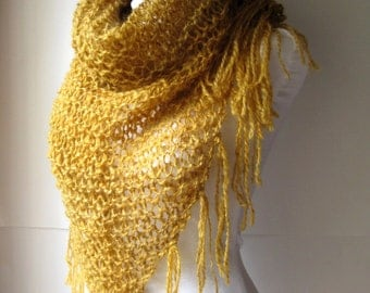 Hand Knit Amber Gold Shawl / Handspun Wool Shawl / Triangle Scarf with Fringe / Hand Dyed Golden Wool Wrap