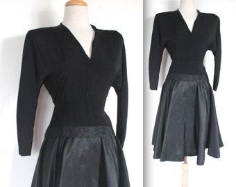 Vintage 1950s Dress // 50s Black Party Dress with Taffeta Swing Skirt // DIVINE