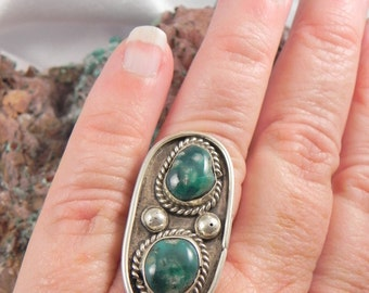 Huge Green Turquoise Dead Pawn Native American Ring