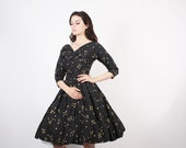 50s Black and Gold Party Dress  - 1950s Cocktail Dress  -  The Wishkeeper Dress  - 5224
