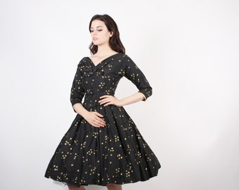 Novelty Print 50s Black and Gold Party Cotton Dress  - 1950s Cocktail Dress  -  The Wishkeeper Dress  - 5224