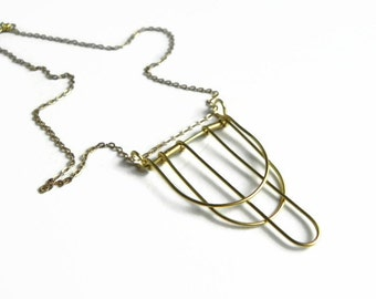 Modern wire form pendant, Modern Lines Pendant Necklace