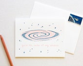 Galaxy Space Love Letterpress Card