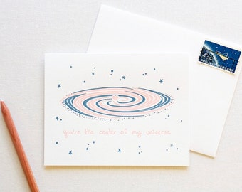 Galaxy Space Love Letterpress Card