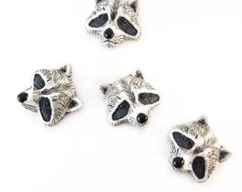 4 Raccoon Head Peruvian Ceramic Beads