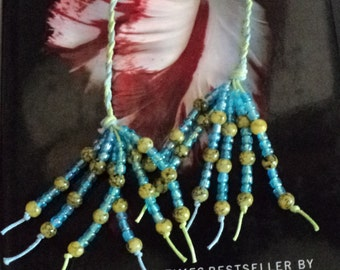 Bookmark, Beaded, Green, Blue, Braided, Braided Bookmark, Book Thong, Beaded Book Thong, Reading Accessories, Book and Zines