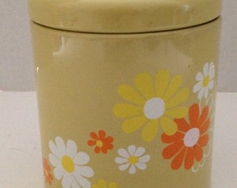 Vintage Ransburg Canister Tin Flowers Indianapolis IN Made in USA Floral Style