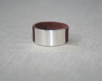 Brushed sterling Silver Belt Buckle ring -Size 7
