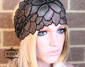 Black Base with Golden Line Flower Pattern Lace Elastic Headband