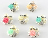 Set of 3-Vintage Rose Pearl Buttons- Approximately 20mm