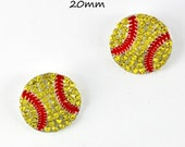 Set of 2- MINI Softball Slider- 20mm Rhinestone Center, Rhinestone Embellishment, Softball Rhinestone