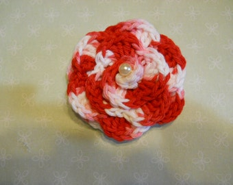 SALE  Crochet Rose Brooch, in Variegated Cotton Yarn, in Pink Red White with a Foux Pearl Center,