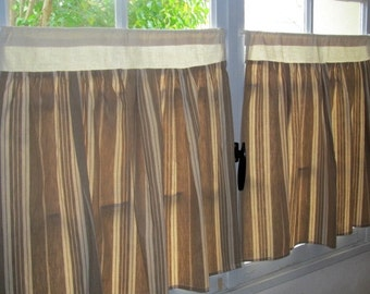 French Kitchen Curtains, Ecru French Ticking, Pair Cafe Curtains, French toile de matelas, beige Striped
