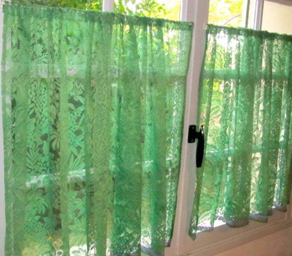 Green Kitchen Curtains Green French Lace Cafe By Hatchedinfrance