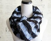 Striped Convertible Infinity Scarf Charcoal and Light Blue Fleck for Men and Women, Ready to Ship