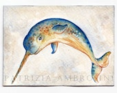 Original ACEO NarWhale..  Original Painting- Watercolor- Card -collectible- fine art- sea world-