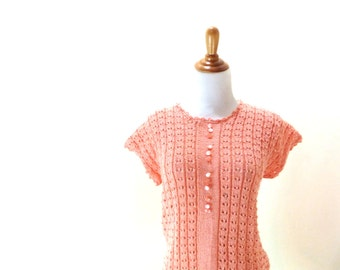 Vintage Coral Sweater / Hand Knit Sweater / Salmon Sweater / Short Sleeve Cardigan / Light Pink Sweater S/M