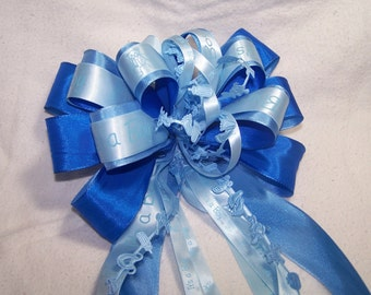 "Baby Boy Gift Bow ""It's a Boy"" Handmade Satin Ribbon Decoration Shower Party Wreath Pretty Blue Door"