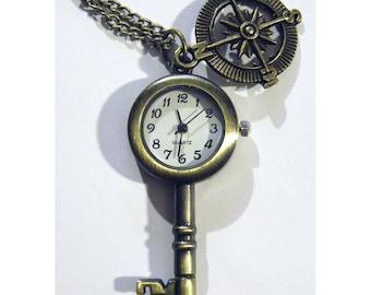 Pocket Watch Compass Steampunk Antique Style Victorian Skeleton Key Clock Necklace