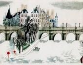 Paris print of PONT-NEUF bridge, mid-century illustration of Paris bridge and river by Sasek