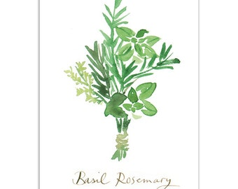 BASIL & ROSEMARY Kitchen art print, Watercolor painting, Food poster, 5X7 Green culinary artwork, Home decor, Condiments
