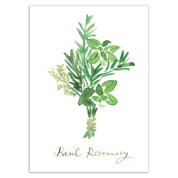 Kitchen Art Vegetables Print Botanicals Kitchen Art: Affiche Cuisine Basilic Romarin Herbes Aromatiques