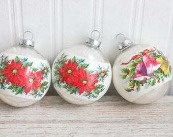 Vintage Christmas Ornaments, Satin Xmas Balls, Poinsettia Flowers, Christmas Bells, Retro Decoration, Red White Tree, Mid Century