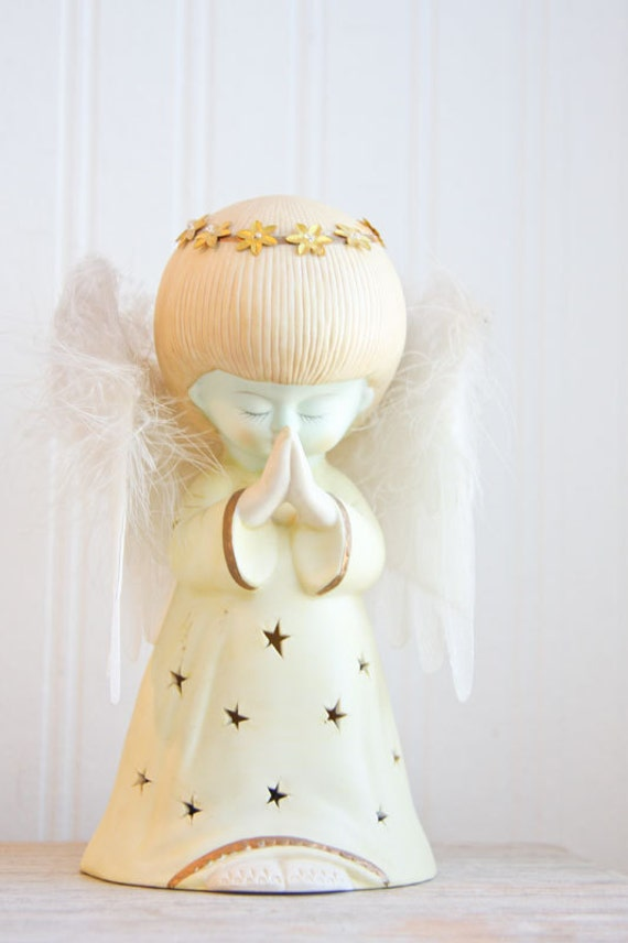 Vintage Angel Angel Figurine Ceramic Feather Wings By