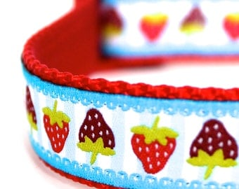 Red Strawberry Dog Collar  / Adjustable Dog Collar / European Ribbon