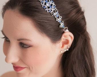 Bridal Headband - Bridal Headpiece - Something Blue - Blue Headpiece - Wedding Headpiece - Wedding Headband - Crystal Headband - SOPHIA