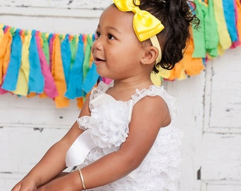 Yellow Bow Headband. Big Yellow Satin Bow Headband. Yellow Baby Headband. Baby Hair Accessories. Baby Girl Hair Accessories. Yellow Hair Bow
