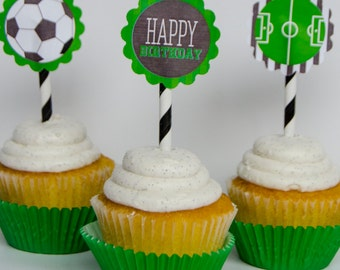 Soccer PRINTABLE Party Cupcake Toppers (INSTANT DOWNLOAD) by Love The day