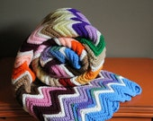 Vintage Crochet Quilt  - Shabby Chic Home Cottage Decor - Chevron ZigZag Design - Colorful Rainbow Photography Prop - Afghan Granny Blanket