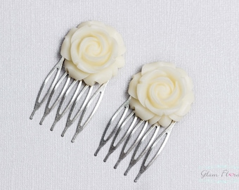 Clearance! Set of 2 Light Ivory Cabochon Flower Hair Combs, Rose Bobby Pins
