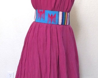 Vintage Hot Pink Free Flowing Tent Dress - Loose Fitting Summer Sundress / Beach Coverup - Ruffle Lei Collar - One Size Fits All